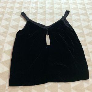 J crew black velvet drapey camisole vneck